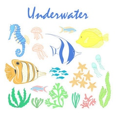 Set of underwater design elements sea fish design vector