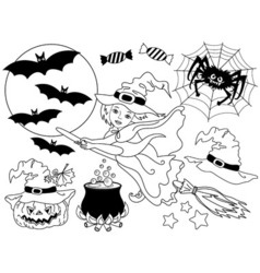 Witch - Halloween Set vector image