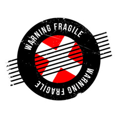 Warning fragile rubber stamp vector