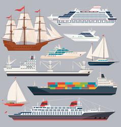 Sea transportation of ships vector