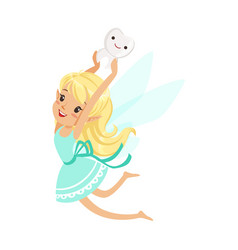 Cute cartoon blonde tooth fairy girl flying and vector