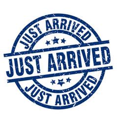 Just arrived blue round grunge stamp vector