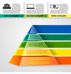 Pyramid 3d infographics vector image