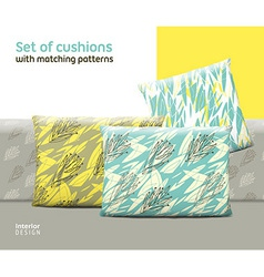 Set of cushions and pillows with matching seamless vector