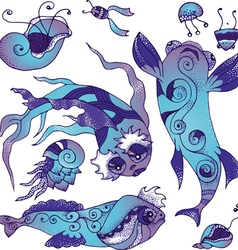 Marine life collection vector