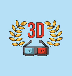 3d glass cinema art concept vector
