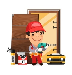 Carpenter installs the door vector