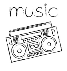 Boombox drawing retro sketch vector