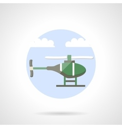 Green helicopter flat color icon vector