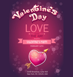 Invitation card on valentines day vertical vector