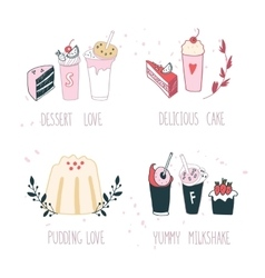 Hand drawn delicious dessert collection milkshake vector