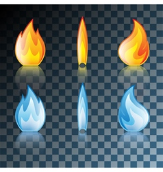 Transparent set flame vector