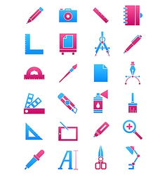 Pink blue design icons set vector
