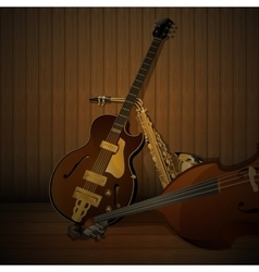 Jazz musical instruments on a wooden background vector