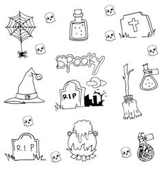 Halloween tomb element in doodle vector