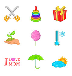 adolescent icons set cartoon style vector image vector image