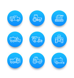 Agricultural machinery line icons set vector