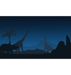 At night silhouette of Triceratops and vector image