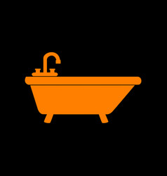 Bathtub sign orange icon on black vector