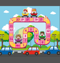 Boardgame template with kids on the road vector