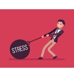 Businessman dragging a weight stress on chain vector