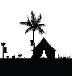 Camping in nature with accesoir in black color vector