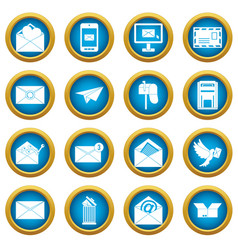 email icons blue circle set vector image vector image
