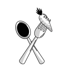 Figure spoon and fork with organic carrot vector