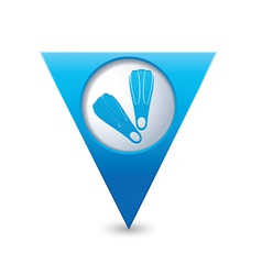 Foot fins symbol on map pointer blue vector