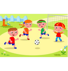 Friends playing soccer at the park vector