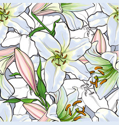 Hand drawn tulip seamless pattern vector