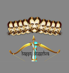 Happy dussehra indian holiday poster with face of vector