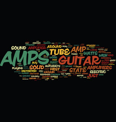 Learn about the guitar amp and how it works text vector