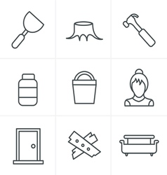 Line icons style icons set carpentry vector