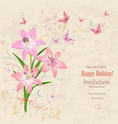 lovely bouquet of pink lilies with flying vector image vector image