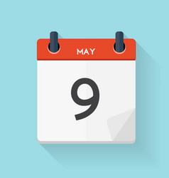 May 9 Calendar Flat Daily Icon vector image