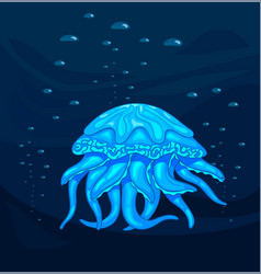 medusa blue jellyfish in the deep stock vector image