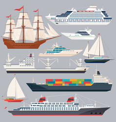 Sea transportation of ships vector