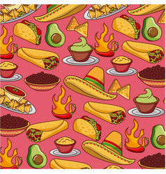 seamless pattern mexican food hat traditional vector image