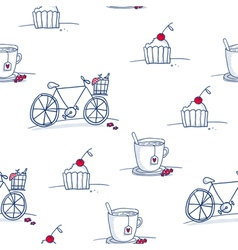 Seamless pattern with doodle cakes cups and vector image vector image