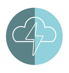 Sticker cloud and thunder storm weather vector