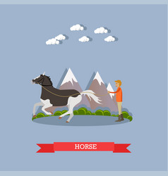 Training a horse in flat style vector