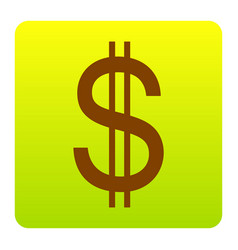 United states dollar sign brown icon at vector