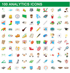 100 analytics icons set cartoon style vector