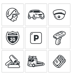 Set of Road Patrol Police Icons Cop Car vector image