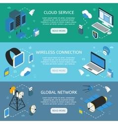 Wireless Technology Horizontal Isometric Banners vector image