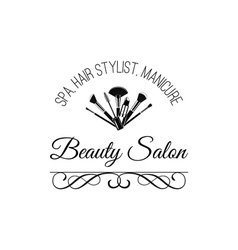 Beauty salon badge makeup brushes logo filigree vector