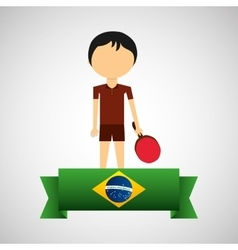 cartoon ping-pong player brazilian label vector image