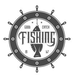 Fishing tournament vintage isolated label vector