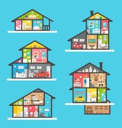 Flat design houses interior set vector image